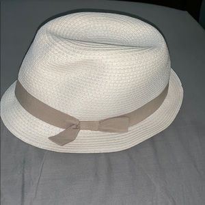 Cream Trilby Hat with beige ribbon